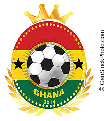 Soccer ball on Ghana flag