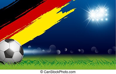 Soccer ball on grass and paintbrush germany flag in stadium with spotlight vector illustration