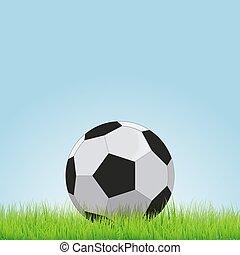 Soccer ball on grass background, vector illustration eps10