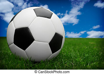 Soccer ball on grass - soccer ball isolated on a field of...
