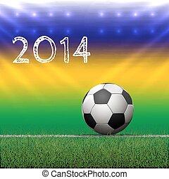 Soccer ball on grass. Vector Illustration