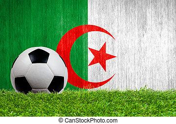 Soccer ball on grass with Algeria flag background