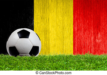 Soccer ball on grass with Belgium flag background