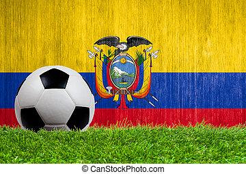 Soccer ball on grass with Ecuador flag background close up