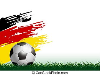 Soccer ball on grass with paintbrush vector illustation