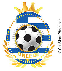 Soccer ball on Greece flag