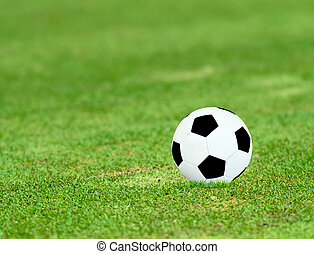 Closeup shot of old soccer ball on grass field at sunny day. fcc59b9cbe885