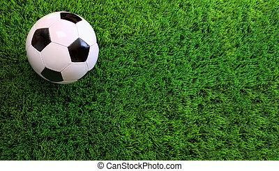 Soccer ball on green grass - Closeup of soccer ball on green...