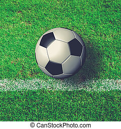 Soccer Ball on green grass field from top view