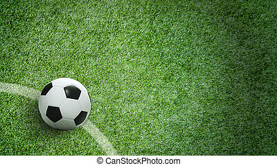 Soccer ball on green grass in stadium with copy space