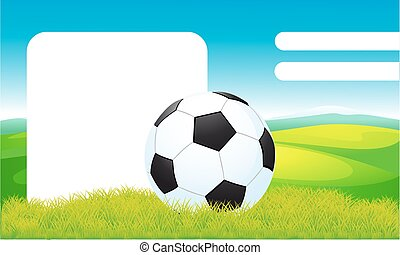 soccer ball on green grass vector frame