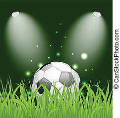 Soccer ball on green grass with light