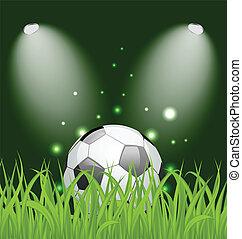 Soccer ball on green grass with light