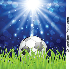 Soccer ball on green grass with shine effect