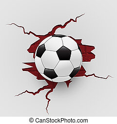 Soccer ball on grunge breaking brick wall. Vector illustration.