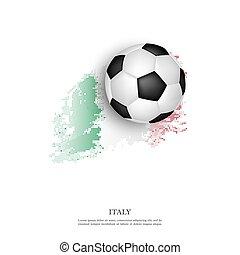 Soccer ball on Italian flag.