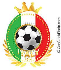 Soccer ball on Italy flag