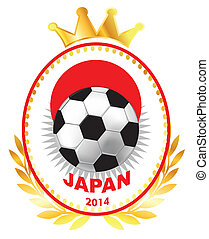 Soccer ball on Japan flag