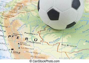 soccer ball on map