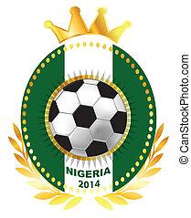 Soccer ball on Nigeria flag