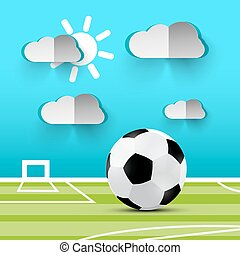 Soccer Ball on Playground. Vector Football Illustration. Football Stadium with Ball - Green Lawn and Blue Sky with Paper Cut Clouds.