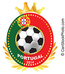 Soccer ball on Portugal flag