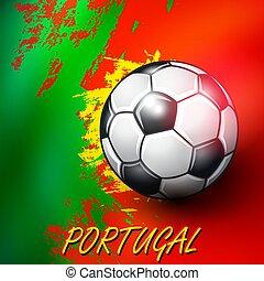 Soccer ball on Portuguese flag background.
