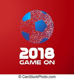 Soccer ball on red background with 2018 quote