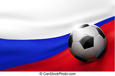 Soccer ball on russian flag background