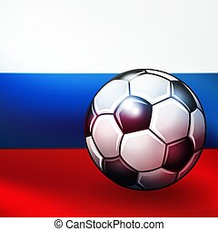 Soccer ball on russian flag background.