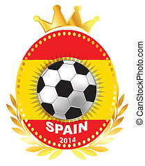 Soccer ball on Spain flag