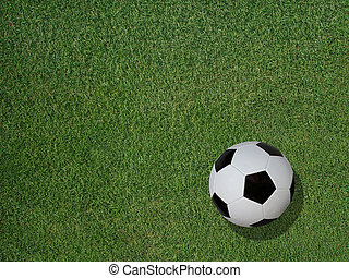 Soccer Ball on Sports Turf Grass - View of a classic soccer...