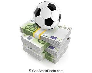 Soccer ball on stack of money