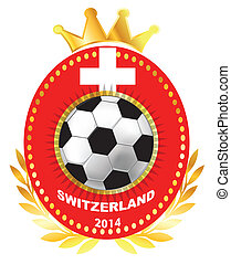 Soccer ball on Switzerland flag