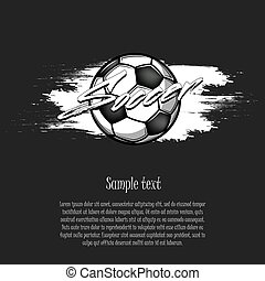 Soccer ball on the background of blots