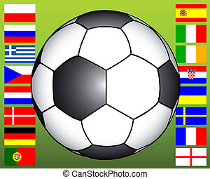 soccer ball on the background of flags