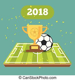 Soccer ball on the field of stadium with cup