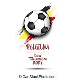 Soccer ball on the flag of Belgium