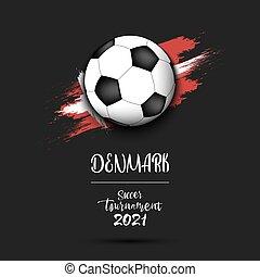 Soccer ball on the flag of Denmark