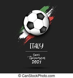 Soccer ball on the flag of Italy