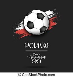 Soccer ball on the flag of Poland