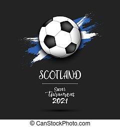 Soccer ball on the flag of Scotland