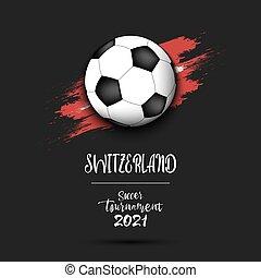 Soccer ball on the flag of Switzerland