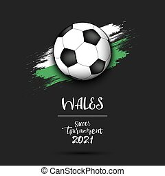 Soccer ball on the flag of Walesy