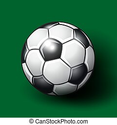 Soccer ball on the green background.