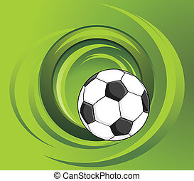 Soccer ball on the green background