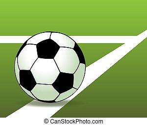 Soccer ball on the green field. Vector illustration