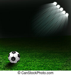 Soccer ball on the green field with light