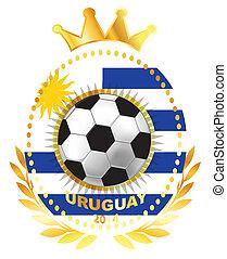 Soccer ball on Uruguay flag