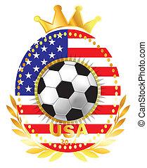 Soccer ball on USA flag
